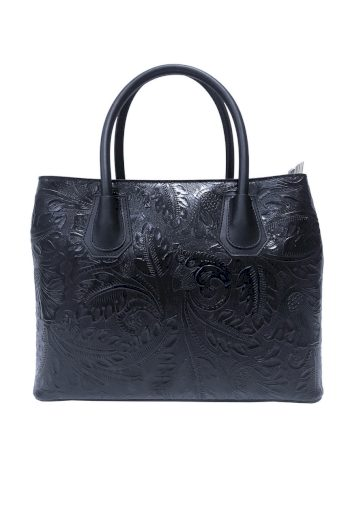 Kožená kabelka s reliéfem květin