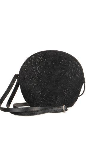 Květinová kulatá kabelka kožená