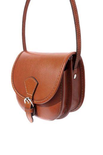 Půlkulatá kožená kabelka listonoška
