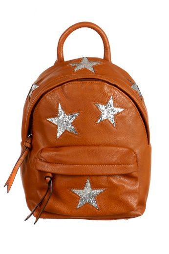 Dámský městský koženkový batůžek se třpytivými hvězdami