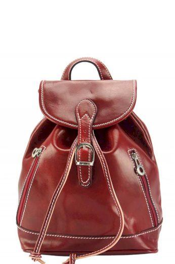 Dámský městský kožený batůžek s postranními zipy