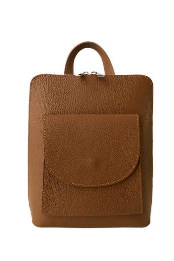 Malý kožený jednobarevný batoh do města