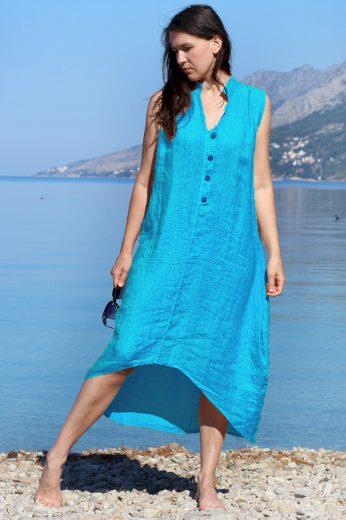 Letní dámské lněné šaty s knoflíky