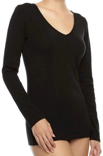 Jednobarevné bavlněné tričko s dlouhým rukávem BASIC