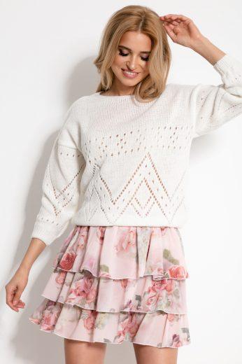 Pletený dámský svetr s moderním vzorem