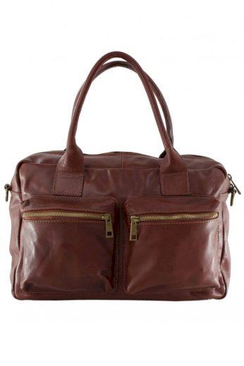 Dámská kožená kabelka s kapsami