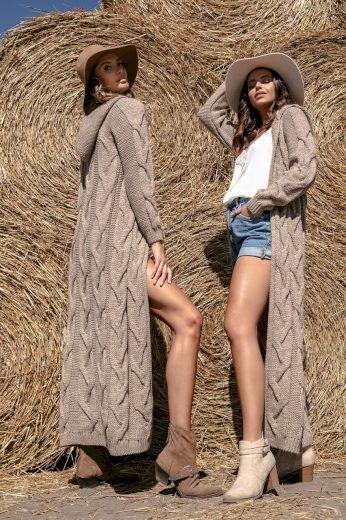 Dlouhý vlněný kabát s kapucí