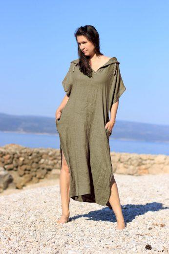 Lněné maxi šaty s kapucou