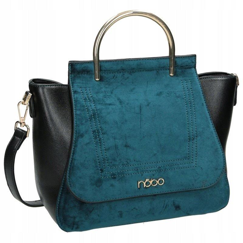 Shopper koženková kabelka s velurovou klopou NOBO