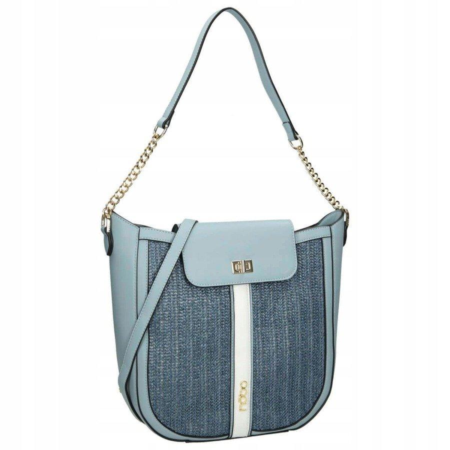 Shopper kabelka dvoubarevná taška pletený vzor ekokůže