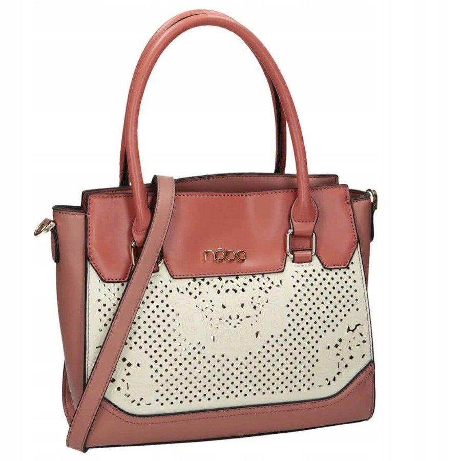 Elegantní shopper kabelka s prolamovanou vložkou na přední straně