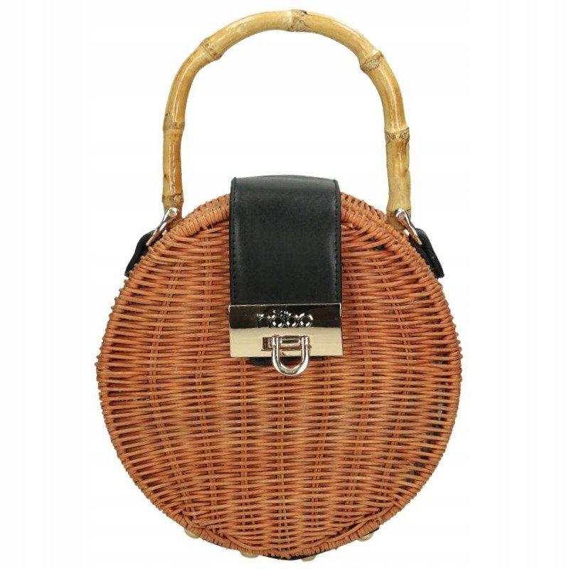 NOBO Dámská kulatá kabelka proutěná taška košík