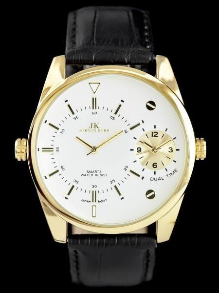 Pánské hodinky JORDAN KERR - DUAL TIME - černé/gold (zj053b)