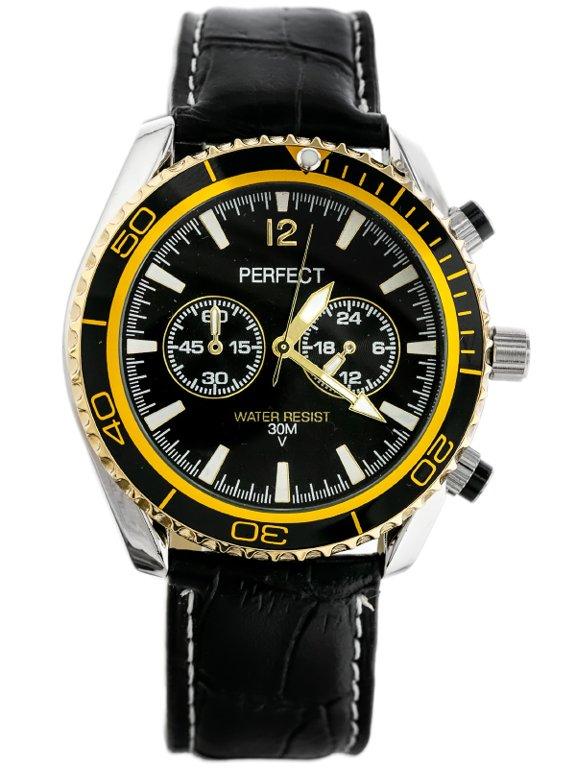 Pánské hodinky PERFECT - OWEGA černé/gold (zp165f)