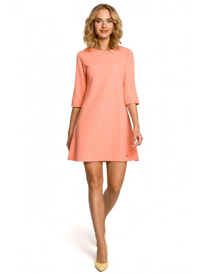 Trapézové šaty s 3/4 rukávy MOE M029 - korálové L