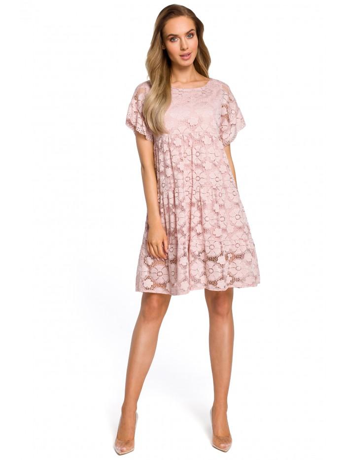 Šaty s květinovou krajkou panelové šaty MOE M430 - RŮŽOVÉ