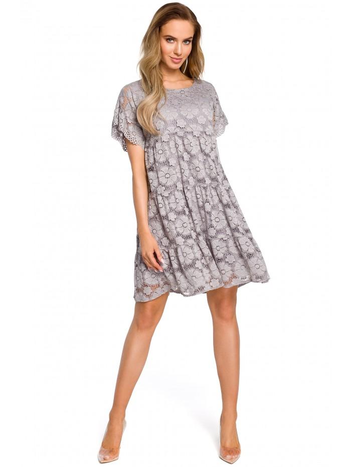 Šaty s květinovou krajkou šedé šaty MOE M430 - XL