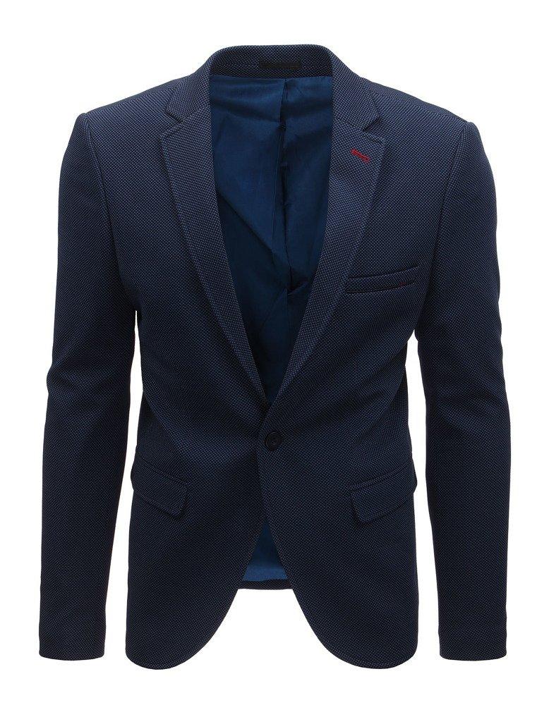 Modré pánské sako elegantní společenské sako na jeden knoflík