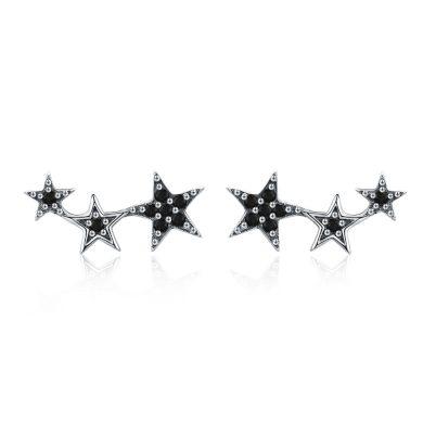Náušnice ze stříbra tři hvězdy s třpytivými zirkony kamínky