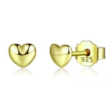 Lesklé zlaté Náušnice srdce ze stříbra ve tvaru srdíčka