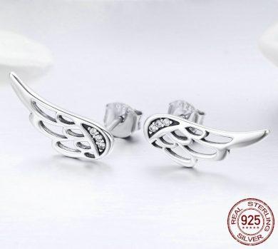 Stříbrné Náušnice křídla andělů s třpytivými kamínky zirkony