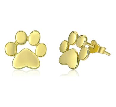 Stříbrné a zlaté peckové náušnice tvar zvířecí packa tlapka psa