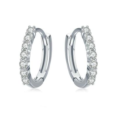 Stříbrné kulaté náušnice kroužky s třpytivými kamínky zirkony