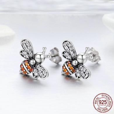 Stříbrné peckové náušnice včela s třpytivými kamínky zirkony