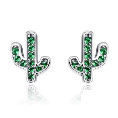 Peckové náušnice kaktus s lesklými zelenými zirkony
