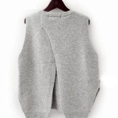 Dámská pletená vesta s rozparkem FashionEU