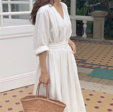 Jednobarevné košilové šaty FashionEU