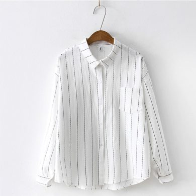 Dámská pruhovaná košile s dlouhým rukávem FashionEU