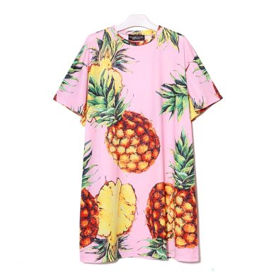 Tričkové šaty s ananasem FashionEU