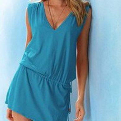 Jednobarevné letní mini šaty FashionEU