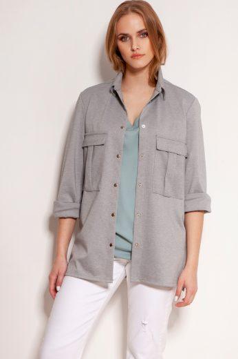 Oversize košile na cvočky s velkými kapsami LANTI