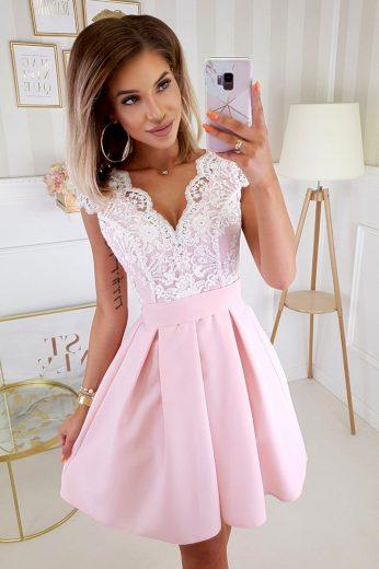 Bílo-růžové šaty krajkové se zavazovací mašlí vzadu - M