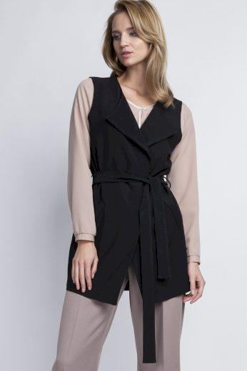Elegantní vesta s límcem KM103 černá LANTI