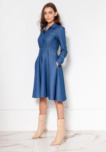 Džínové šaty se zapínáním na knoflíky SUK130