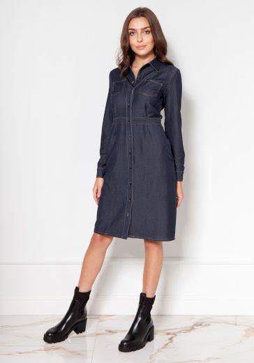 Džínové šaty košilového stylu na knoflíky SUK132 LANTI