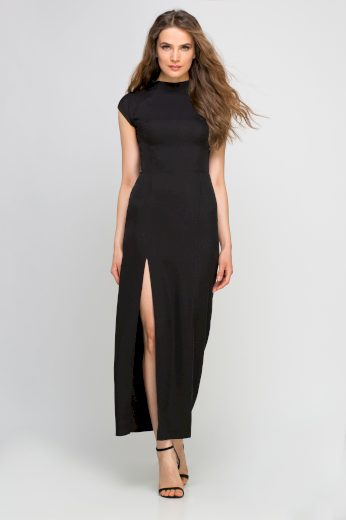 Maxi šaty s rozparkem SUK140 černé LANTI