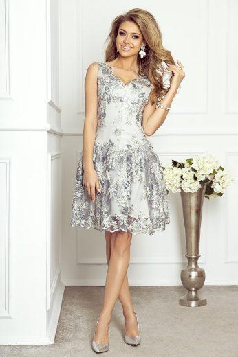 Brilla elegantní večerní šaty krajkové Guipure - ŠEDÉ S