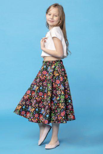 Bavlněná midi sukně dívčí s potiskem MMD35 MiniMom