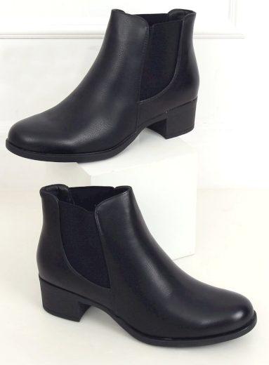 Černé boty Chelsea na podpatku 8B875