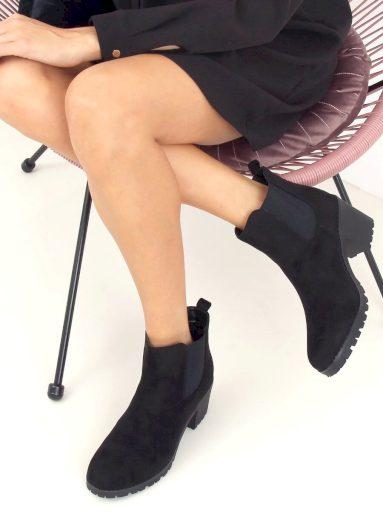 Černé boty Chelsea na podpatku W355 BLACK