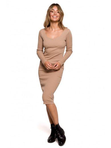B207 Žebrované pletené pouzdrové šaty BeWear