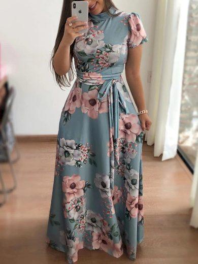 Letní květované maxi šaty s krátkým rukávem - XL