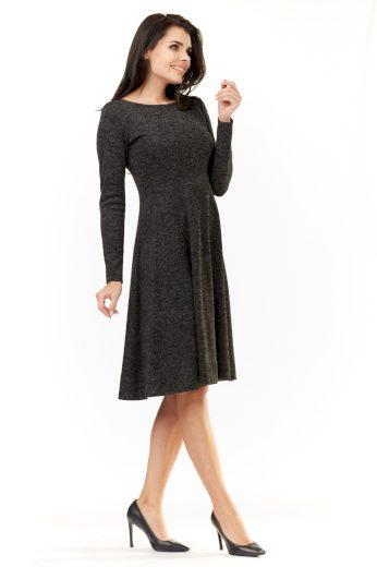 Elegantní pletené šaty midi s dlouhým rukávem A210