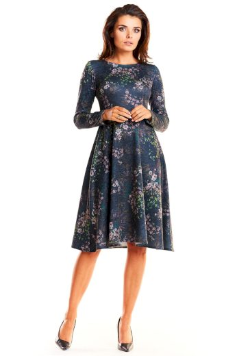 Elegantní rozšířené šaty s dlouhými rukávy A250
