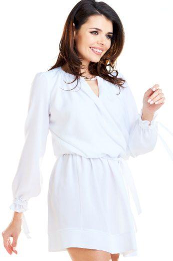 Zavinovací mini šaty s výstřihem a vázáním A268
