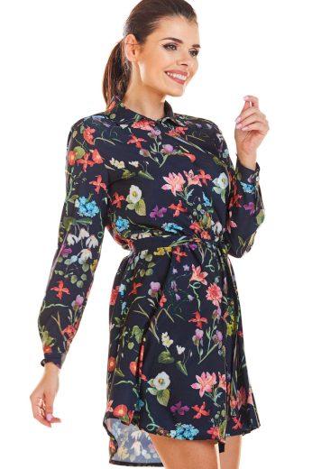 Mini šaty s páskem v pase a květinami M202